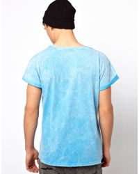 River Island Blue Burnout Tshirt with Harlem Numbers for men