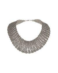 TOPSHOP - Metallic Premium Knitted Chain Collar - Lyst