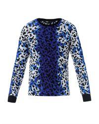 Versus | Blue Spray Strip Leopardprint Sweater | Lyst
