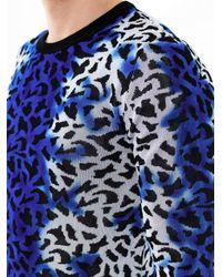 Versus - Blue Spray Strip Leopardprint Sweater - Lyst