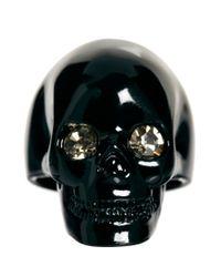 Wildfox Black Skull Ring with Swarovski Crystals