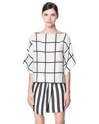 Zara | White Check Print Blouse | Lyst