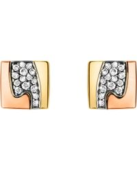 Georg Jensen | Pink Fusion Pavé-set 18ct Gold Stud Earrings | Lyst