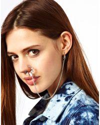 ASOS | Metallic Stone Set Nose Ring Linking Earrings | Lyst