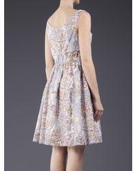 Carven Purple Voile Print Dress