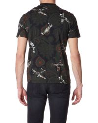 Givenchy Black Paisley and Spitfire Print Tshirt for men