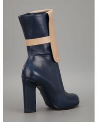Jil Sander Blue Twotone Mid Calf Boot