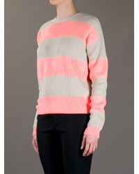 Lacoste L!ive Pink Bold Striped Sweater