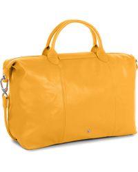 Longchamp | Yellow Le Pliage Cuir Large Handbag | Lyst