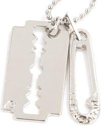 McQ - Metallic Razor Pendant Necklace for Men - Lyst