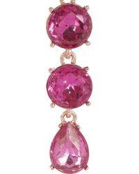 Oscar de la Renta - Pink Rose Goldplated Crystal Drop Earrings - Lyst
