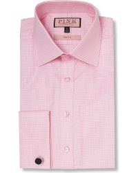 Thomas Pink | Moto Check Slim Fit Double Cuff Shirt, Men's, Size: 16, Pink for Men | Lyst