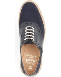 Tricker's Blue Saddle Oxford Shoes for men