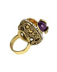 Alcozer & J - Metallic Crystal Bee Brass Ring - Lyst