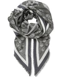 Alexander McQueen Gray Flag and Skullprinted Scarf for men