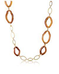 Antica Murrina Brown Broadway Iridescent Murano Glass Link Chain Necklace