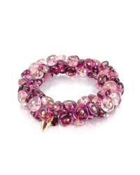 Antica Murrina - Purple Rubik - Murano Glass Drops Stretch Bracelet - Lyst