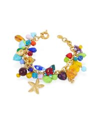 Antica Murrina - Blue Marilena - Murano Glass Marine Gold Plated Bracelet - Lyst