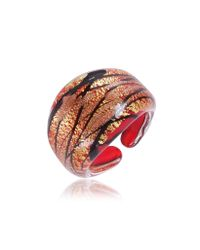 Antica Murrina | Laguna Red Gold Black Murano Glass Ring | Lyst
