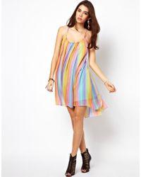 Ladies Rainbow Cami Sleeveless Dress Womens Strappy Flared Cami Swing Dress