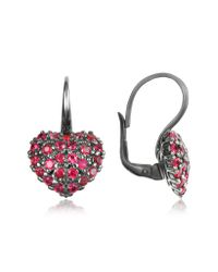 Azhar | Metallic Sterling Silver And Cubic Zirconia Heart Earrings | Lyst