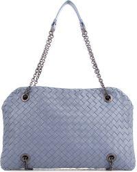 Bottega Veneta Blue Krim Intrecciato Jersey Duo Bag