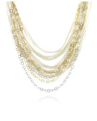 Daco Milano | Metallic Multi-strand Sterling Silver Lace Chain Necklace | Lyst