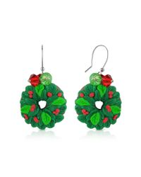 Dolci Gioie Green Christmas Wreath Earrings