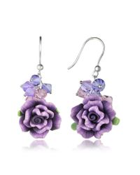 Dolci Gioie | Purple Rose Earrings | Lyst