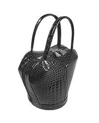 Fontanelli Black Crocodile Stamped Handbag