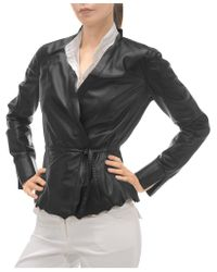 FORZIERI - Black Leather Lightweight Belted Jacket - Lyst