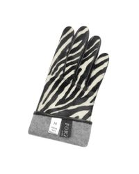 FORZIERI - Multicolor Women's Zebra Pony Hair And Italian Nappa Leather Gloves - Lyst