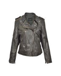 FORZIERI - Dark Brown Asymetrical Zip Leather Motorcycle Jacket - Lyst