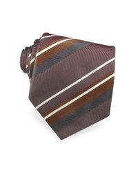 FORZIERI Gray Gold Line Regimental Woven Silk Tie for men