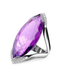 FORZIERI Purple Amethyst and Diamond White Gold Fashion Ring