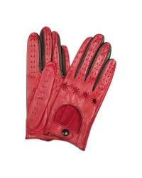 FORZIERI - Women's Red & Black Perforated Italian Leather Driving Gloves - Lyst