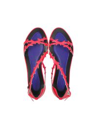 KENZO | Neon Pink Patent Leather Flat Sandal | Lyst