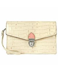 L.A.P.A. White Ivory Croco-embossed Leather Clutch