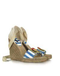 Marc Jacobs Blue Striped Canvas Espadrille Wedge Sandal