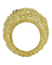 Orlando Orlandini | Metallic Arianna - 18k Gold Wide Ring W/ Round Diamond | Lyst