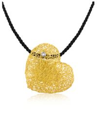Orlando Orlandini - Yellow Arianna - Diamond Heart Pendant W/velvet Lace - Lyst