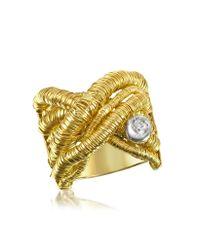 Orlando Orlandini | Capriccio - Diamond 18k Yellow Gold Crossover Ring | Lyst