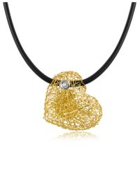 Orlando Orlandini - Yellow Arianna - Small Diamond Heart Pendant W/rubber Lace - Lyst