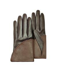 Pineider | Women's Two-tone Brown Short Nappa Gloves W/ Silk Lining | Lyst