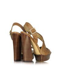 Rachel Zoe Natural Eryn Asymmetric Leather Platform Sandal