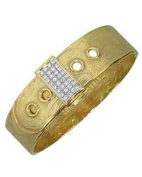 Torrini Zero - 18k Yellow Gold And Diamond Pave Cuff Bracelet
