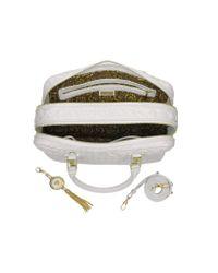 Versace | Demetra Vanitas Large White Quilted Leather Satchel | Lyst