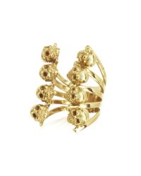 Bernard Delettrez - Metallic Golden Skulls Bronze Ring - Lyst