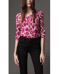 Burberry   Pink Animal Floral Print Silk Shirt   Lyst