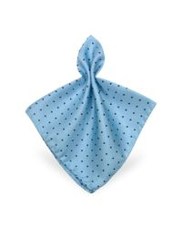 FORZIERI | Blue Polkadot Twill Silk Pocket Square for Men | Lyst